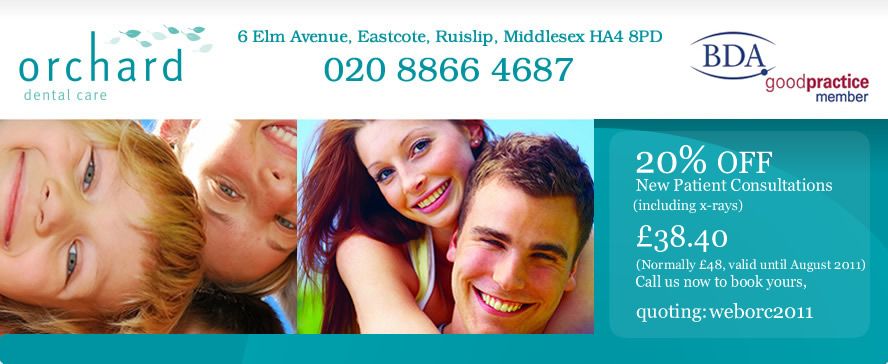 Orchard dental care - 6 Elm Avenue, Eastcote, Ruislip, Middlesex HA4 8PO - 020 8866 4687